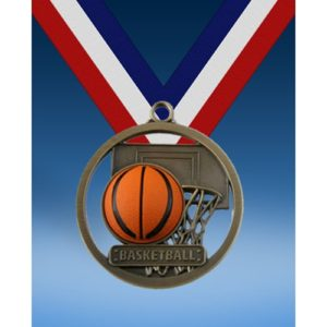 "Basketball 2"" Game Ball Medal"