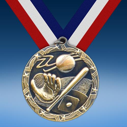 """Baseball 2 1/2"""" Ten Star Medal-0"""