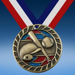 """Baseball 2 1/2"""" Glitter Medal-0"""