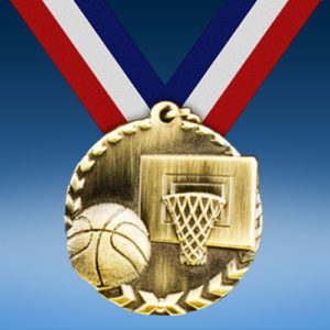 "Basketball 1 3/4"" Arrow Medal-0"