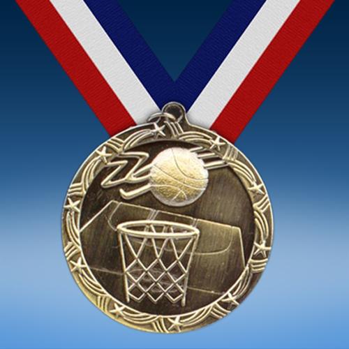 """Basketball 2 1/2"""" Ten Star Medal-0"""