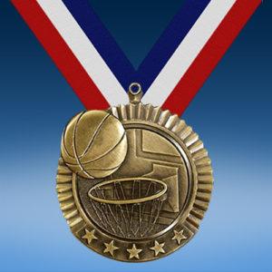 "Basketball 2 3/4"" Five Star Medal-0"