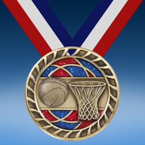 """Basketball 2 1/2"""" Glitter Medal-0"""