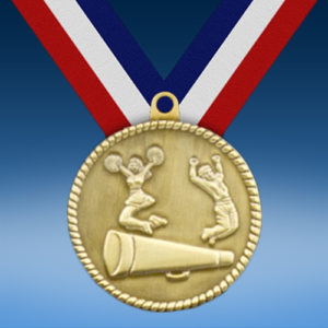"""Cheerleading 2"""" High Relief Medal-0"""