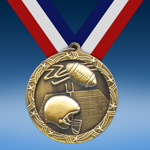 "Football 2 1/2"" Ten Star Medal-0"