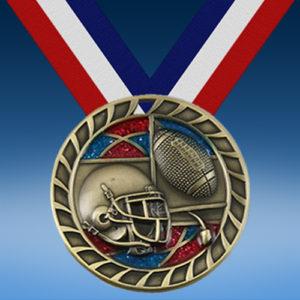 """Football 2 1/2"""" Glitter Medal-0"""