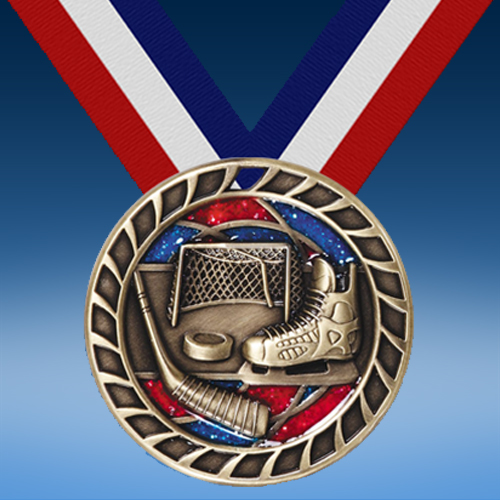 "Hockey 2 1/2"" Glitter Medal-0"