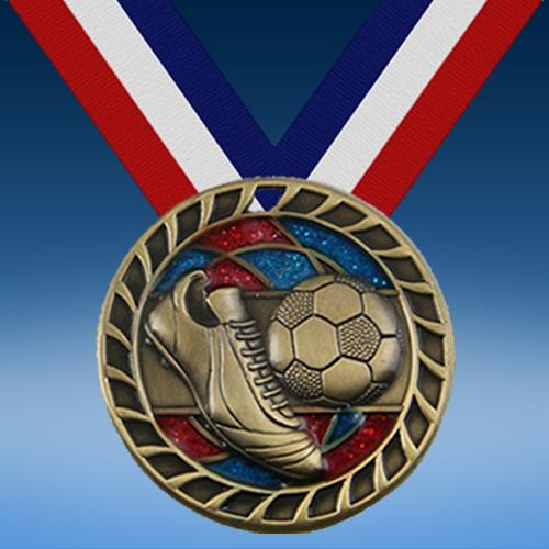 """Soccer 2 1/2"""" Glitter Medal-0"""