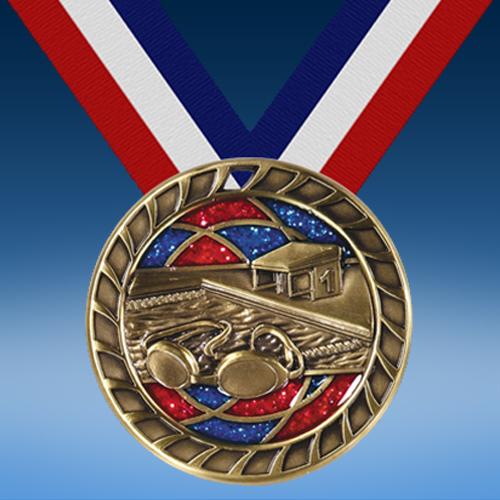 """Swimming 2 1/2"""" Glitter Medal-0"""