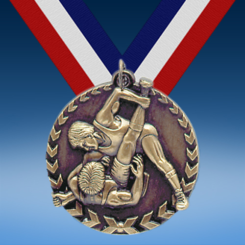 "Wrestling 1 3/4"" Arrow Medal-0"