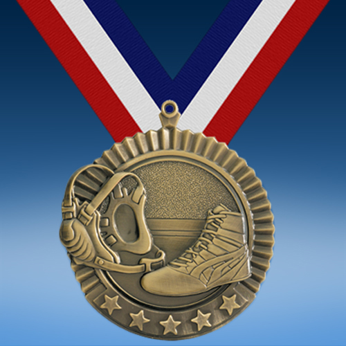 "Wrestling 2 3/4"" Five Star Medal-0"