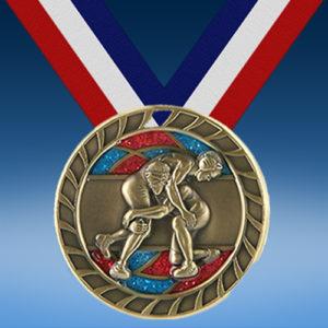 """Wrestling 2 1/2"""" Glitter Medal-0"""