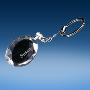 Crystal Oval-Facet Keychain
