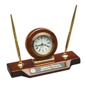 Desk Clock On Base With 2 Pens