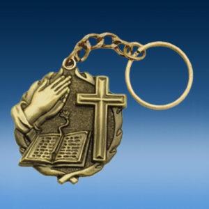 Bible Cross Wreath Keychain-0