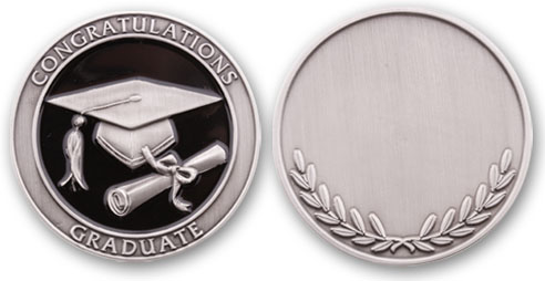 Graduation Coin (Antique Silver)