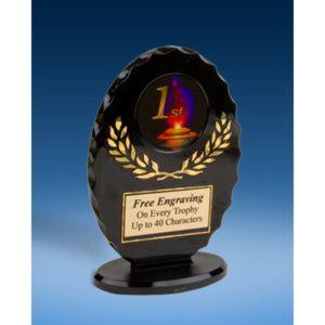 1st Place Oval Black Acrylic Trophy