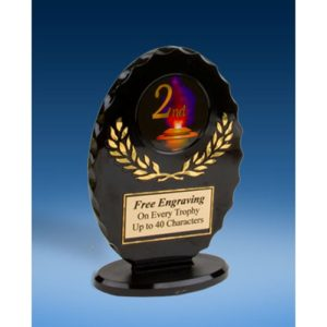 2nd Place Oval Black Acrylic Trophy