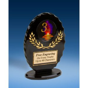 3rd Place Oval Black Acrylic Trophy