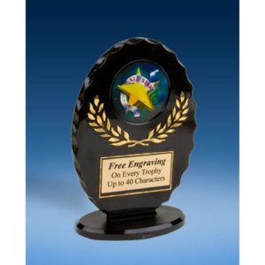 All Star Oval Black Acrylic Trophy