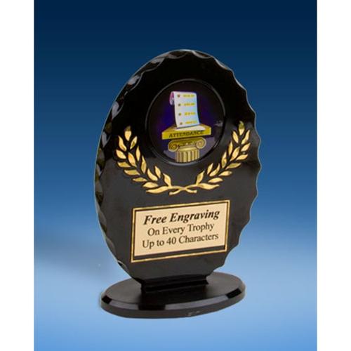 Attendance Oval Black Acrylic Trophy