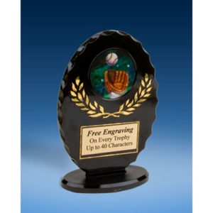 Baseball 2 Oval Black Acrylic Trophy