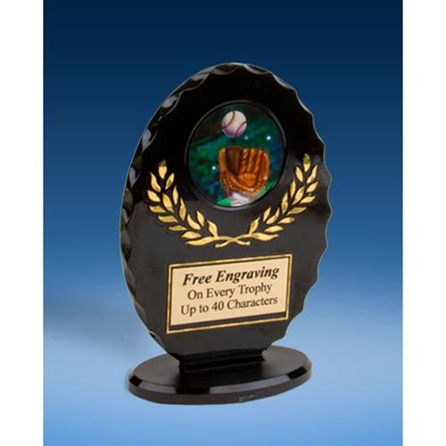 Baseball 2 Oval Black Acrylic Trophy