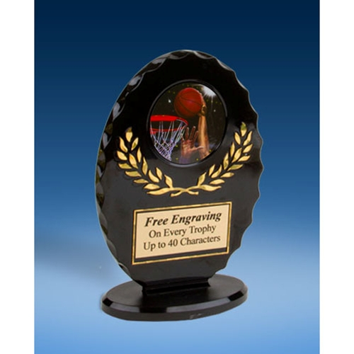 Basketball 2 Oval Black Acrylic Trophy