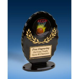 Basketball Oval Black Acrylic Trophy