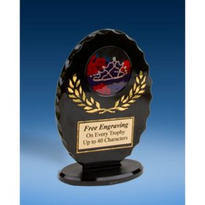 Beauty Pageant Oval Black Acrylic Trophy
