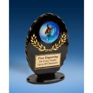 BMX Oval Black Acrylic Trophy