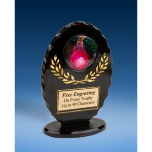 Bowling 2 Oval Black Acrylic Trophy