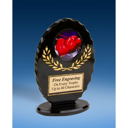 Boxing Oval Black Acrylic Trophy