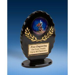 Bull Riding Oval Black Acrylic Trophy