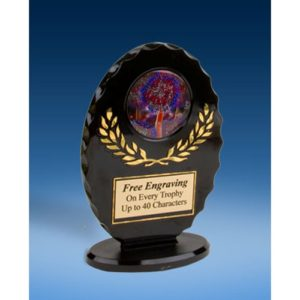 Cheer 2 Oval Black Acrylic Trophy
