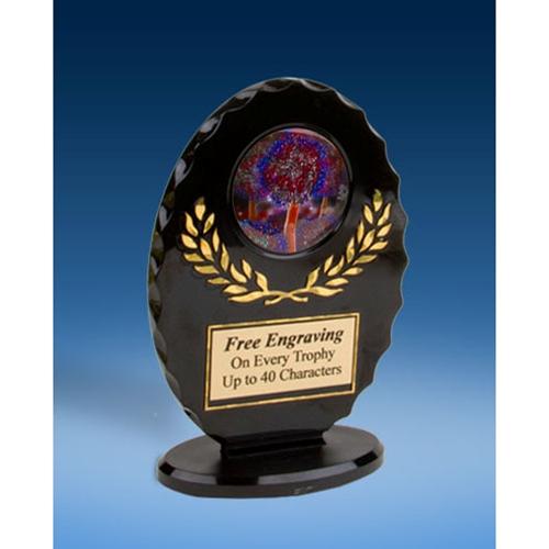 Cheer 2 Oval Black Acrylic Trophy
