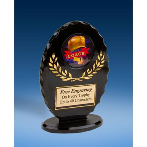 Coach Oval Black Acrylic Trophy