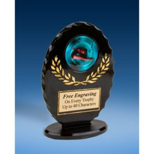 Diving Female Oval Black Acrylic Trophy