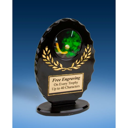 Field Hockey Oval Black Acrylic Trophy