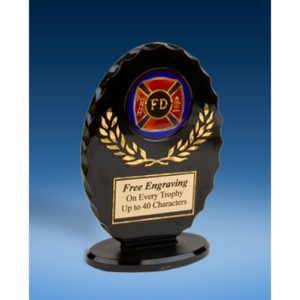 Fire Dept Oval Black Acrylic Trophy