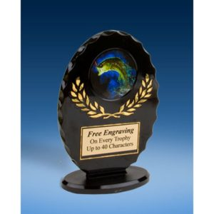 Fishing Oval Black Acrylic Trophy