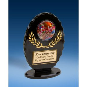 Football 2 Oval Black Acrylic Trophy