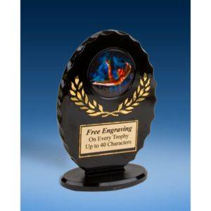 Gymnastics Female Oval Black Acrylic Trophy