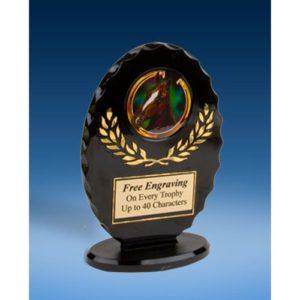 Horse Oval Black Acrylic Trophy