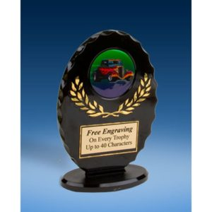 Hot Rod Oval Black Acrylic Trophy