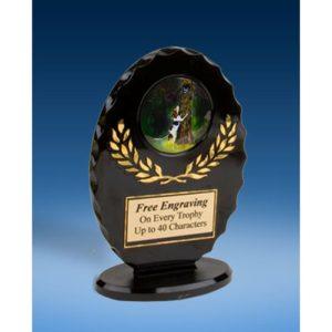 Hunting Oval Black Acrylic Trophy
