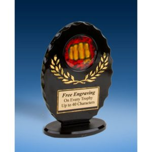 Martial Arts Oval Black Acrylic Trophy