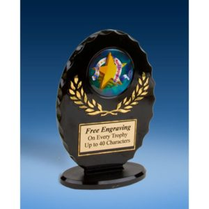 Most Improved Oval Black Acrylic Trophy