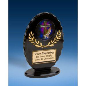Religious Oval Black Acrylic Trophy