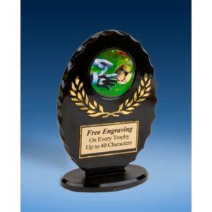 Soccer 3 Oval Black Acrylic Trophy